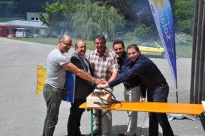 Eröffnung Bürgerkraftwerk Greifenburg 12.07.2014-  Christof Müller (GF Weißenseer Holz-Systembau GmbH); LR Rolf Holub; Bgm. Franz Mandl; Christian Garz, Michael Jaindl (Kärnten Solar)