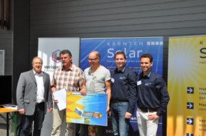 Eröffnung Bürgerkraftwerk Greifenburg 12.07.2014 -  LR Rolf Holub; Bgm. Franz Mandl; Christof Müller (GF Weißenseer Holz-Systembau GmbH);  Michael Jaindl, Christian Garz (Kärnten Solar)